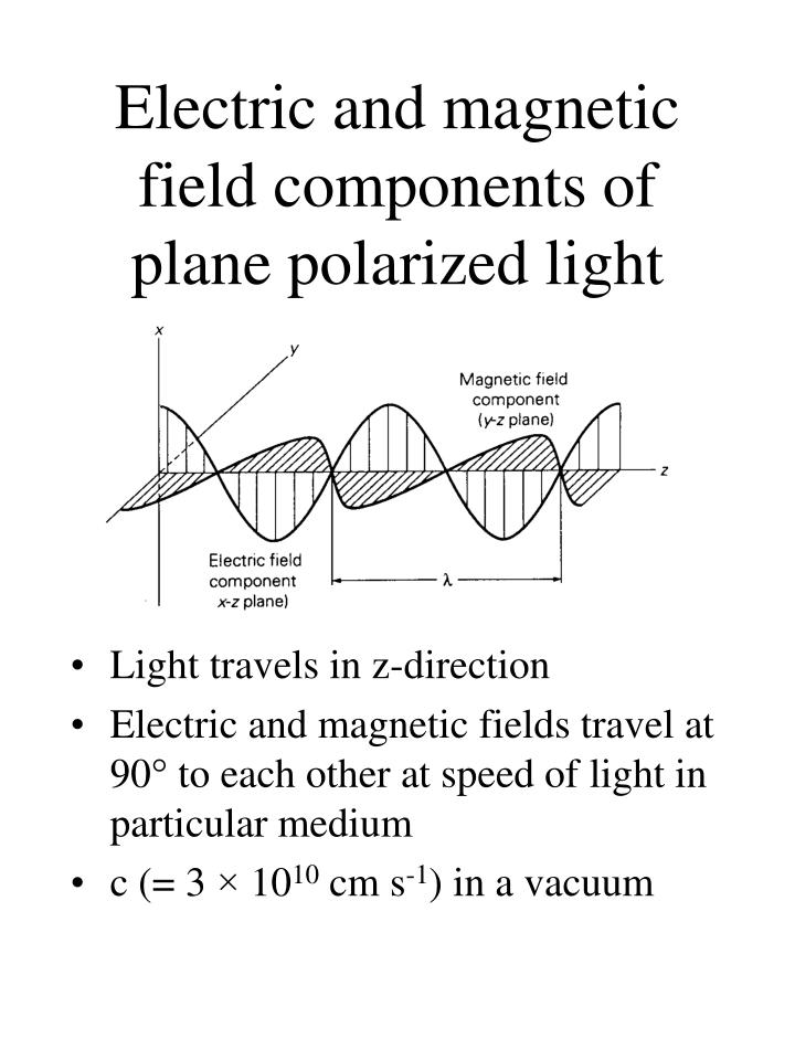 Electric and magnetic field components of plane polarized light