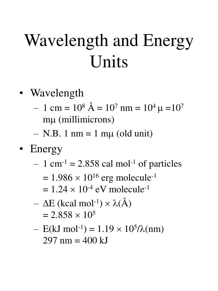 Wavelength and Energy Units