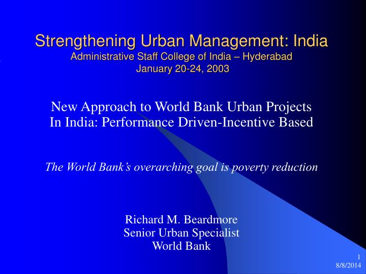 Strengthening Urban Management: India