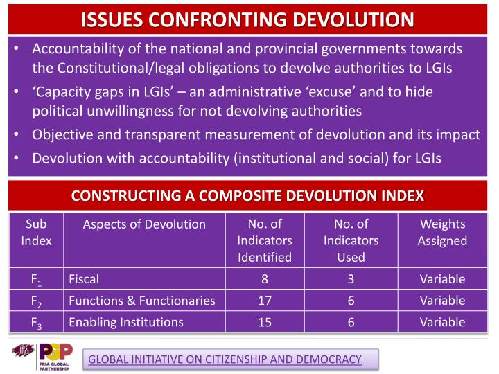 ISSUES CONFRONTING DEVOLUTION