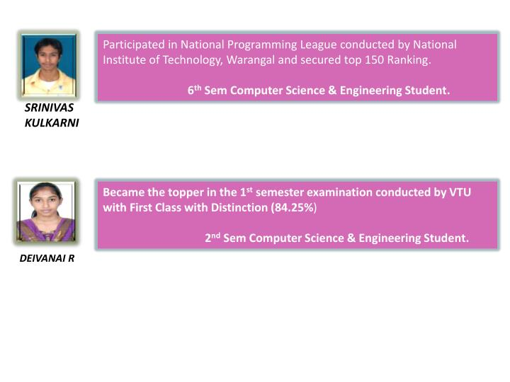 Participated in National Programming League conducted by National Institute of Technology, Warangal and secured top 150 Ranking