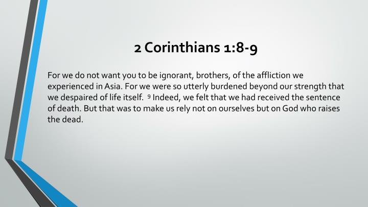 2 Corinthians 1:8-9