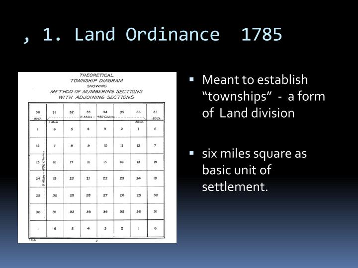 , 1. Land Ordinance  1785