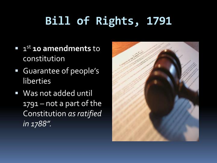Bill of Rights, 1791