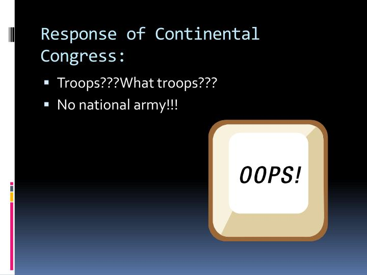 Response of Continental Congress: