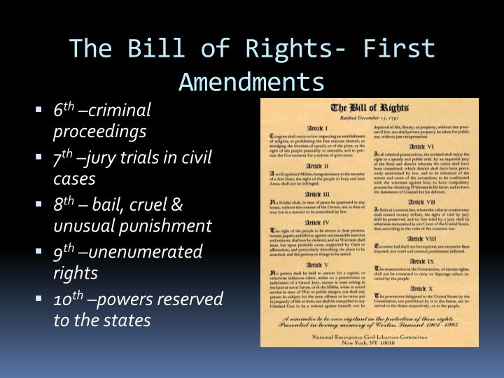 The Bill of Rights- First Amendments