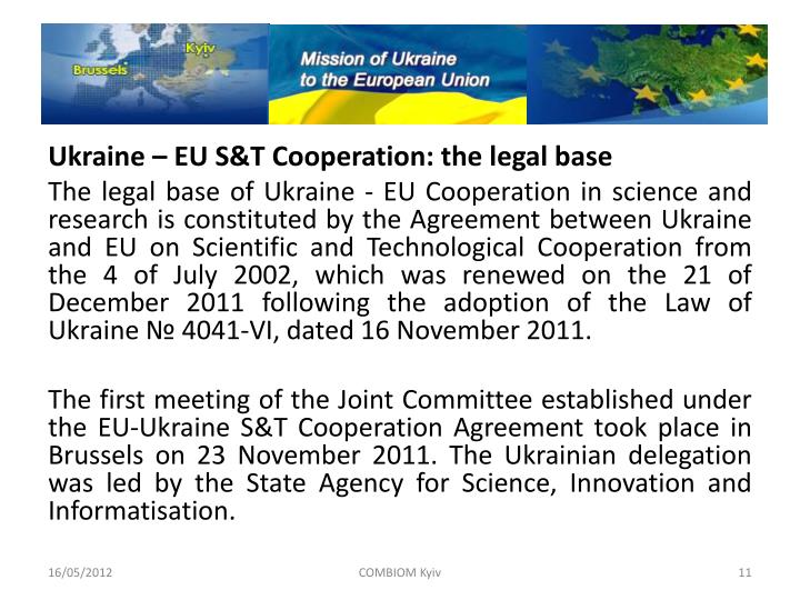 Ukraine – EU S&T Cooperation: the legal base