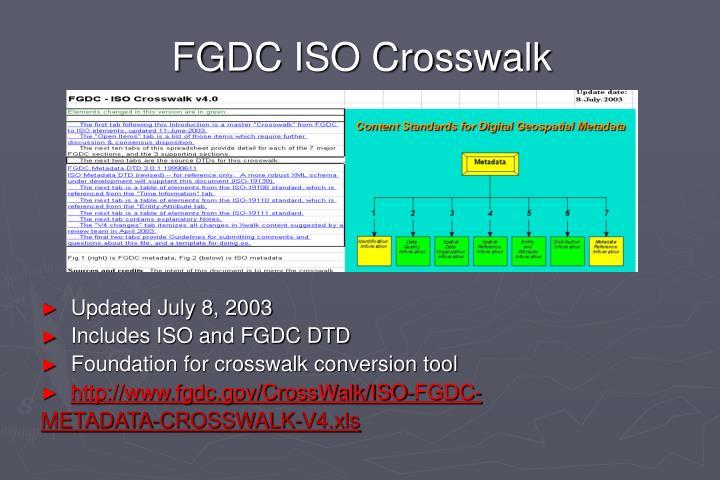 FGDC ISO Crosswalk