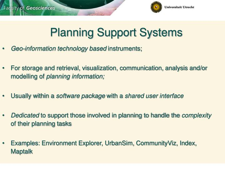 Planning Support Systems