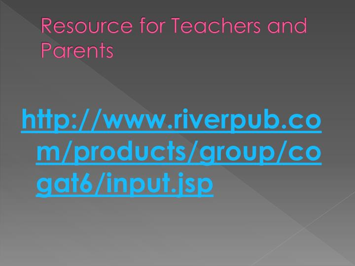 Resource for Teachers and Parents