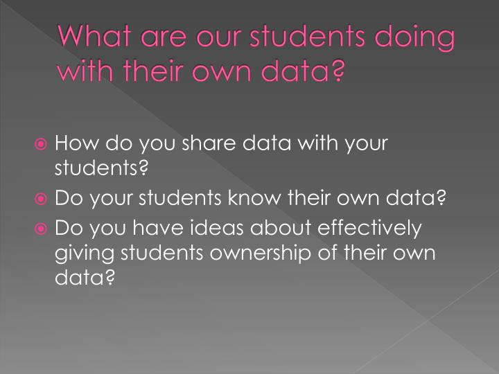 What are our students doing with their own data?