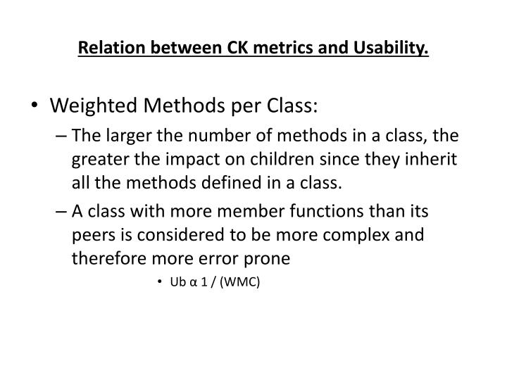 Relation between CK metrics and Usability.
