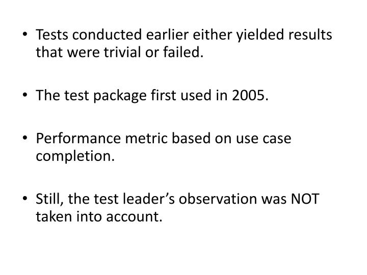 Tests conducted earlier either yielded results that were trivial or failed.