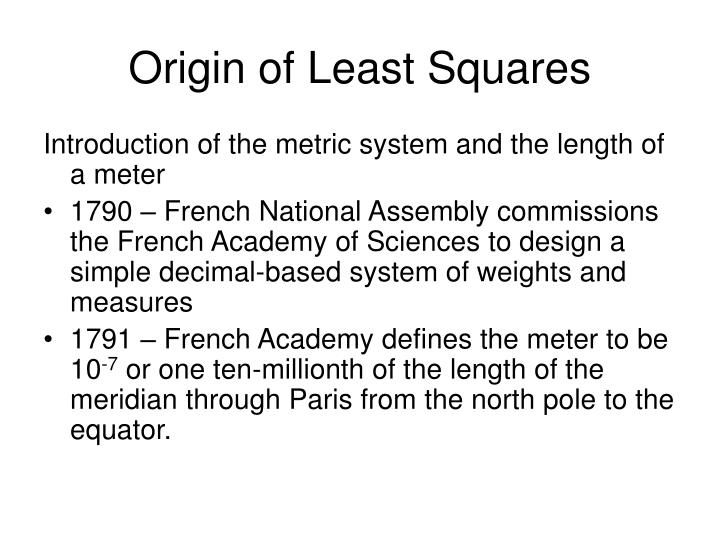 Origin of Least Squares