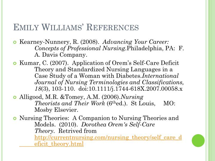 application of orem s self care deficit thoery and standardized nursing language in a case study Kumar, cp (2007) application of orem's self-care deficit theory and standardized nursing languages in a case study of a woman with diabetes international journal of nursing terminologies and classifications, 18(3): 103-110.