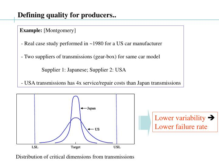 Defining quality for producers..