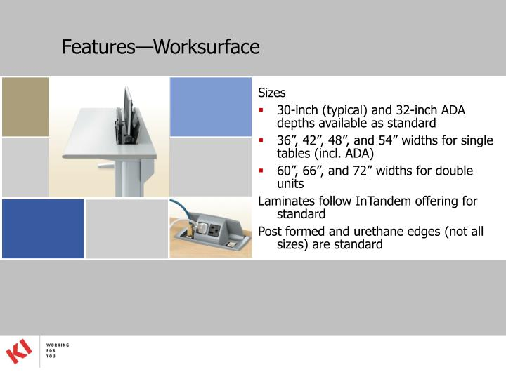 Features—Worksurface