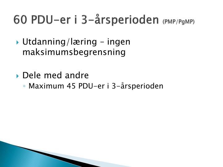 60 PDU-er i 3-årsperioden