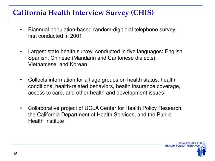 California Health Interview Survey (CHIS)
