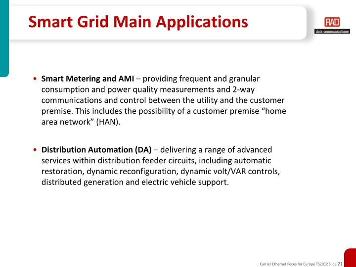 Smart Grid Main Applications
