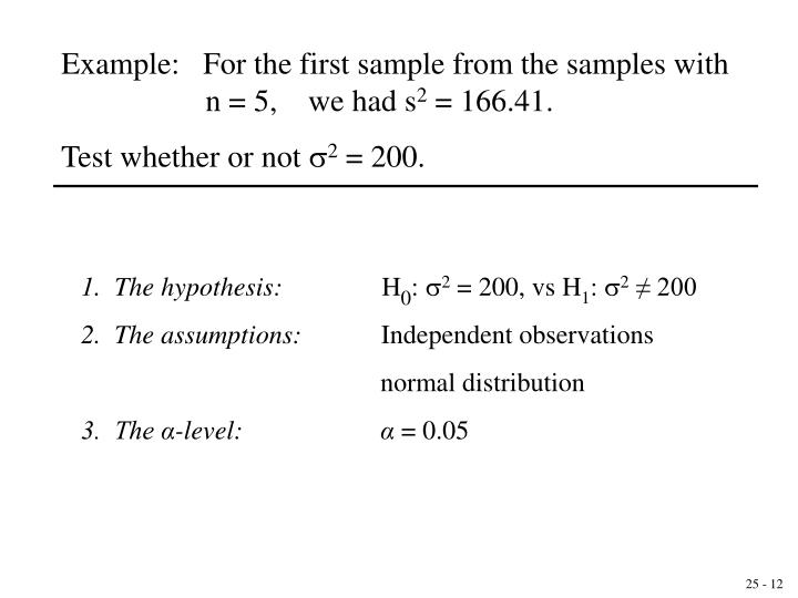 Example:   For the first sample from the samples with       n = 5,    we had s