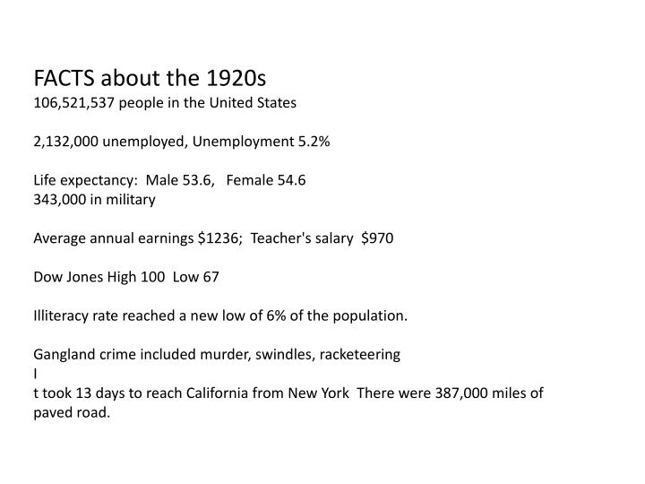 FACTS about the 1920s