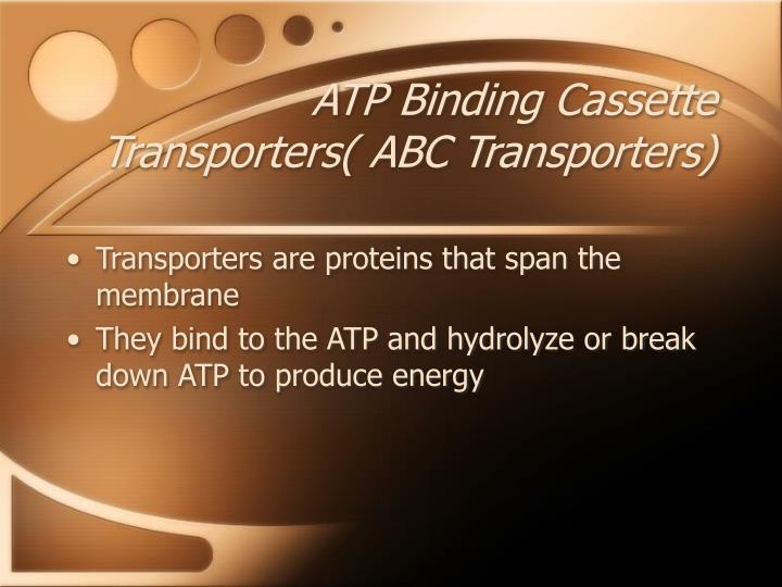 ATP Binding Cassette Transporters( ABC Transporters)