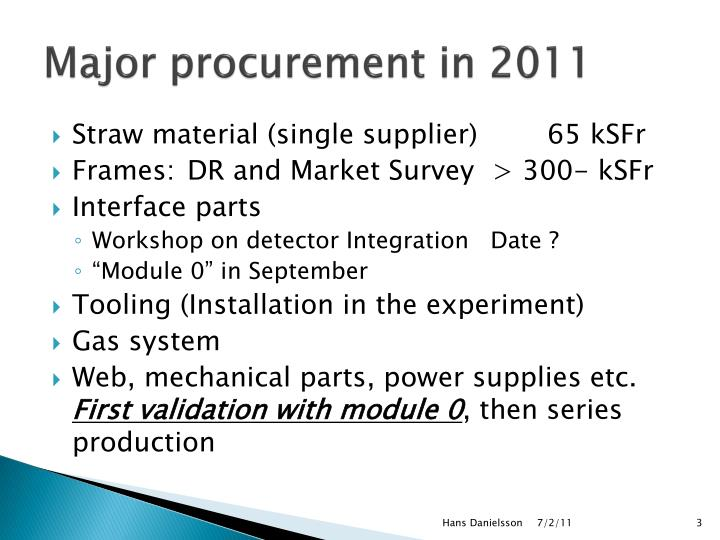 Major procurement in 2011