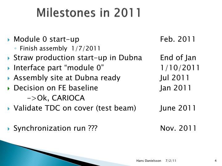 Milestones in 2011