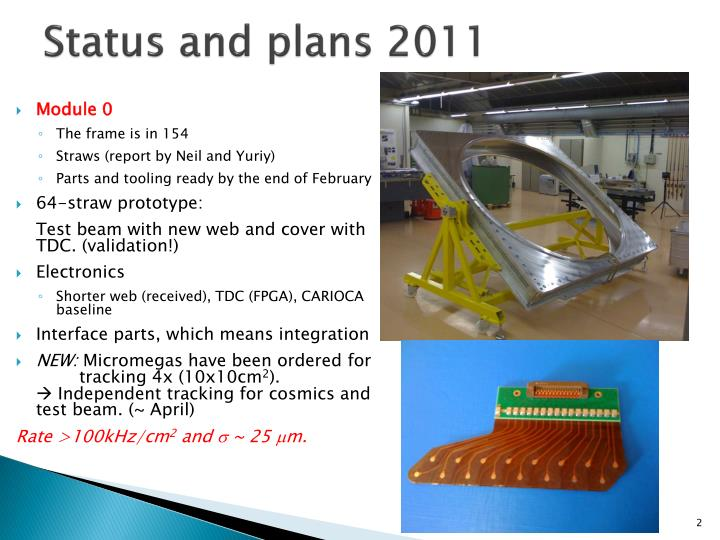 Status and plans 2011