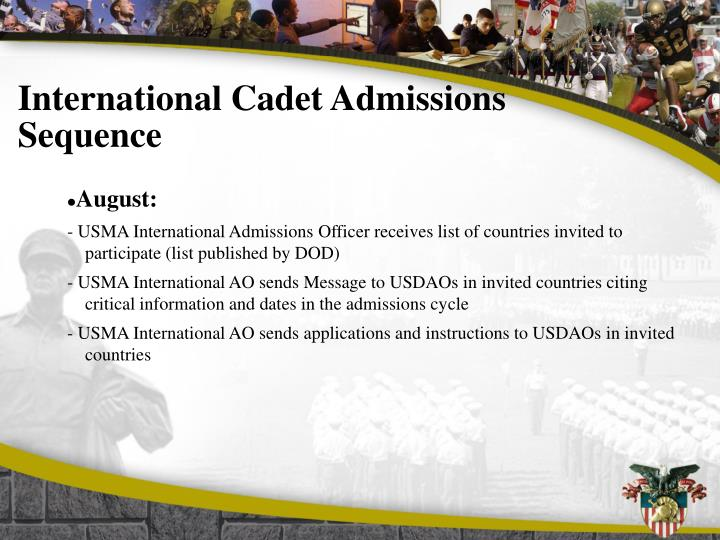 International Cadet Admissions Sequence