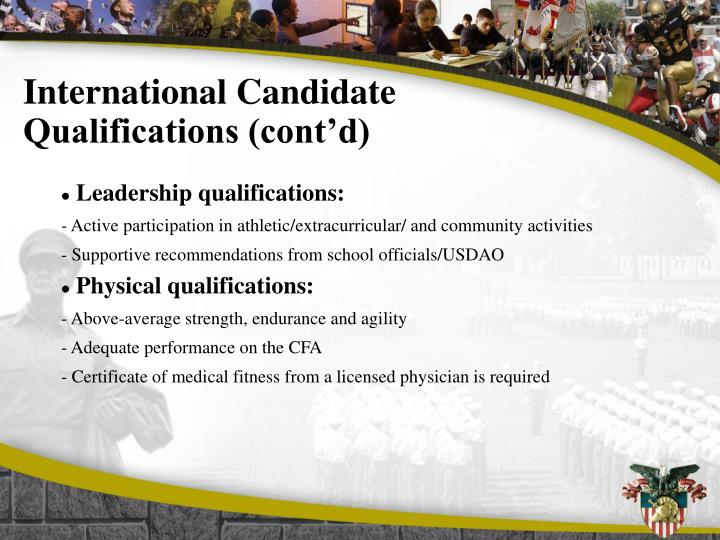 International Candidate Qualifications (cont'd)