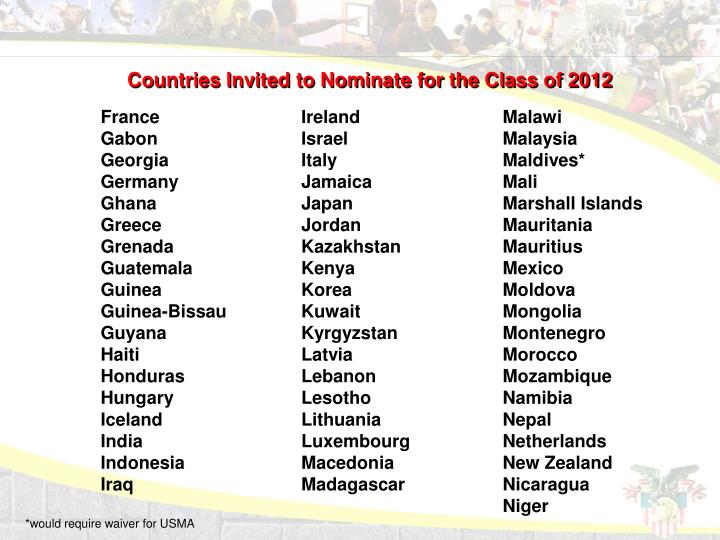 Countries Invited to Nominate for the Class of 2012