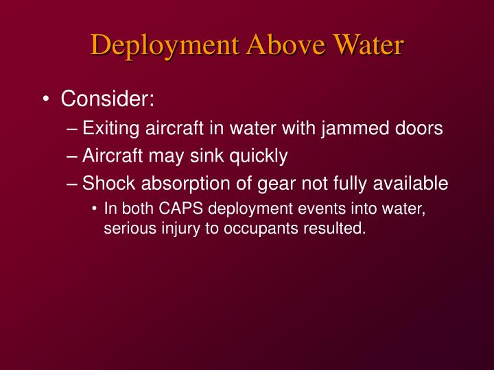Deployment Above Water