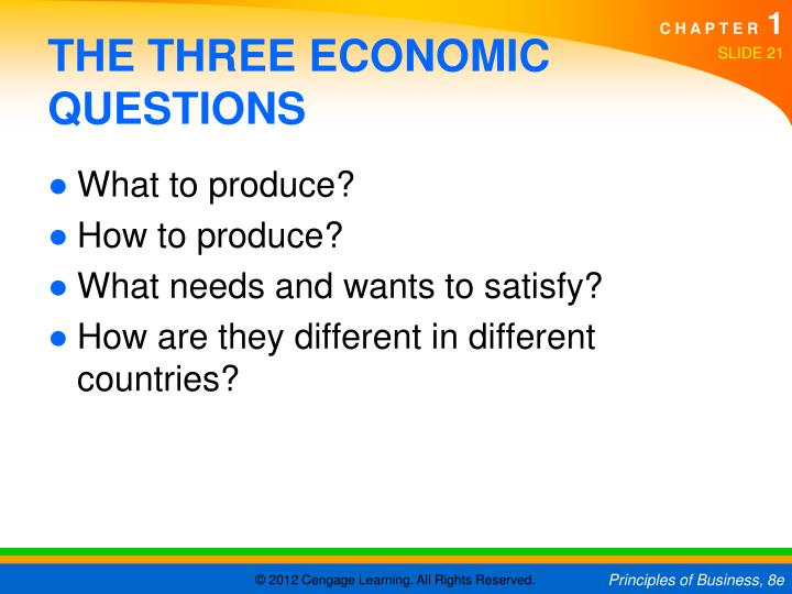 the three main economic questions Societies have developed different broad economic approaches to manage their   and mixed—but they don't completely agree on the question of which system.