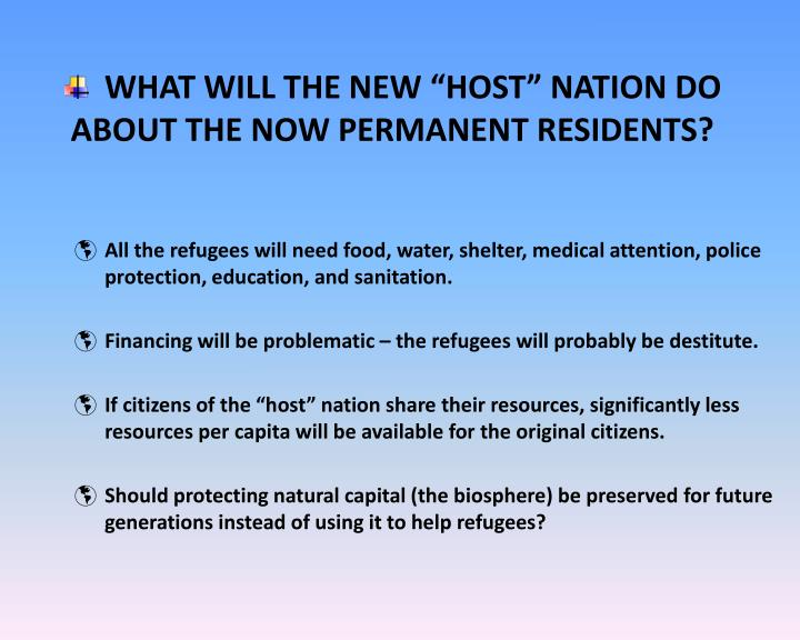 "WHAT WILL THE NEW ""HOST"" NATION DO ABOUT THE NOW PERMANENT RESIDENTS?"
