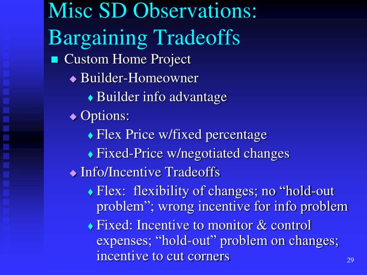 Misc SD Observations: