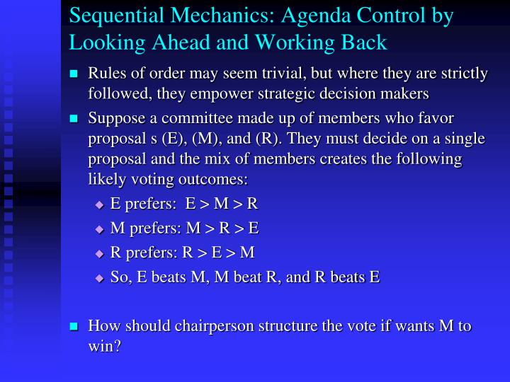 Sequential Mechanics: Agenda Control by