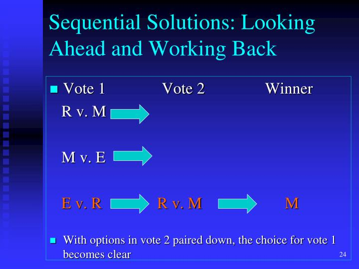 Sequential Solutions: Looking Ahead and Working Back