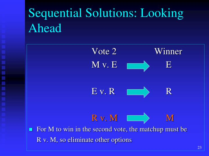 Sequential Solutions: Looking Ahead