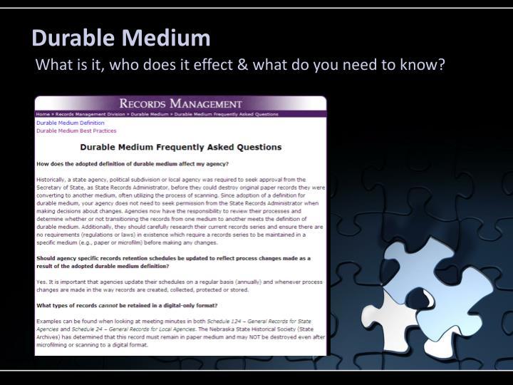 Durable Medium
