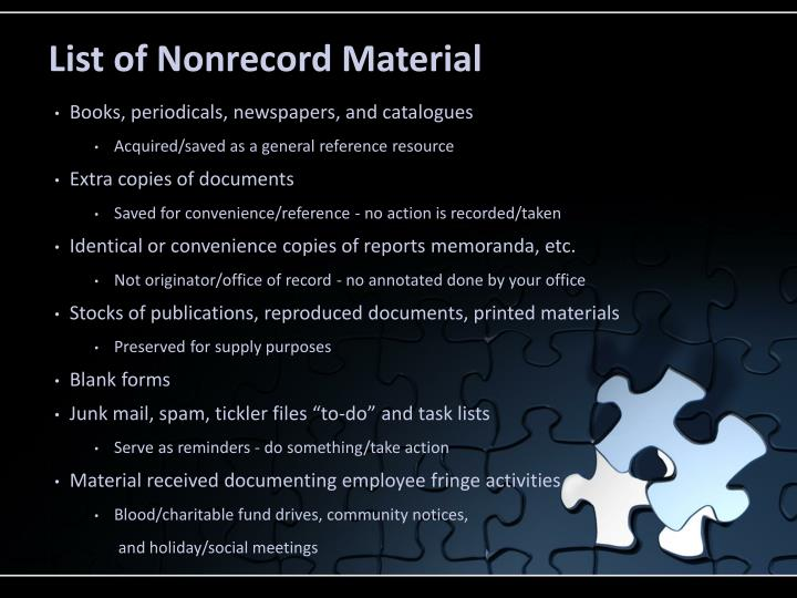 List of Nonrecord Material