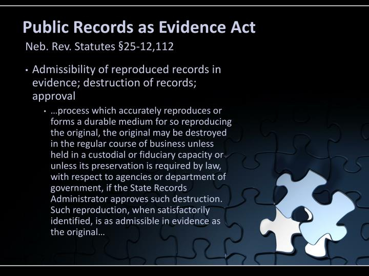 Public Records as Evidence Act