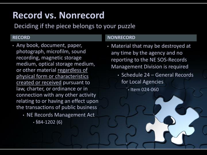 Record vs. Nonrecord