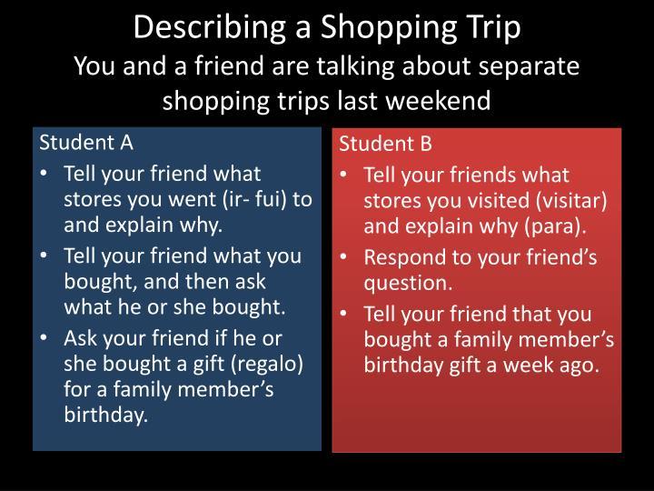 Describing a Shopping Trip
