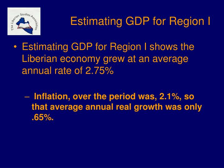 Estimating GDP for Region I