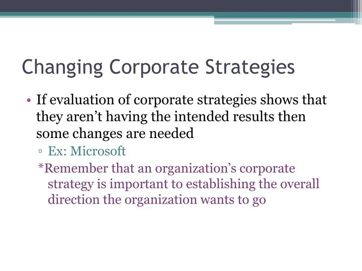 Changing Corporate Strategies