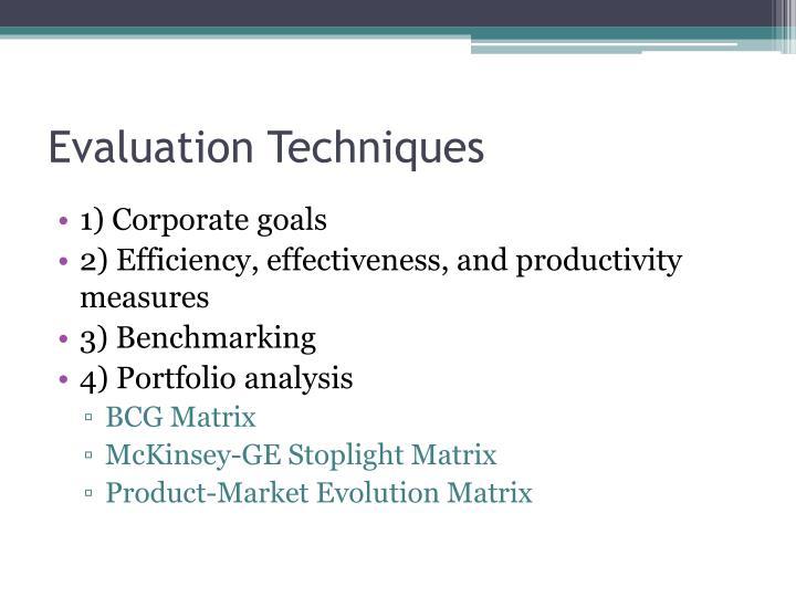 Evaluation Techniques