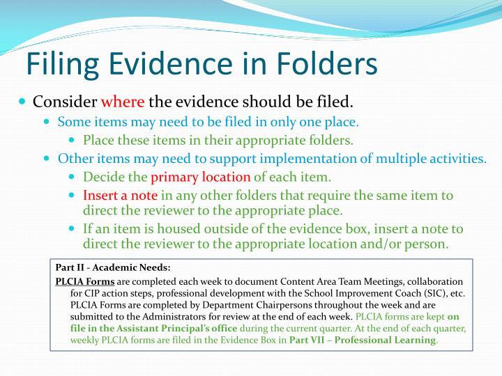 Filing Evidence in Folders