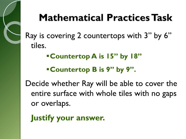 Mathematical Practices Task